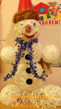 Снеговик из шариков Паутинка